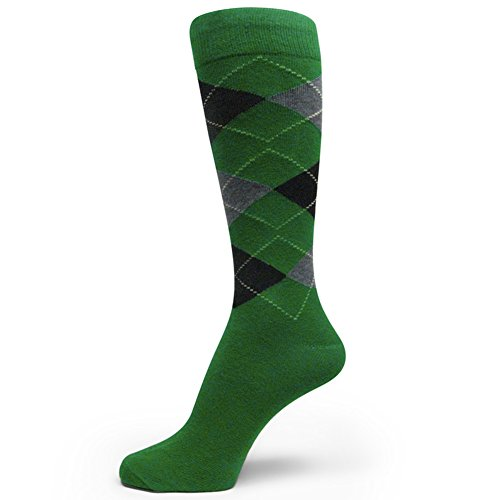 Spotlight Hosiery Men's Patrick's Day Irish Color Argyle Dress Socks-Green