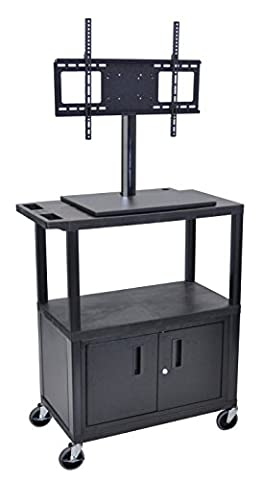 LUXOR ET38CE-B 3-Shelf with Cabinet and Electric Flat Panel TV Cart - Buhl Flat
