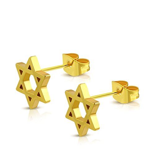 Stainless Steel Gold Color Plated Cut-out Star of David Stud Earrings (pair)