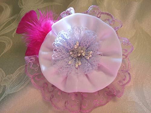 Light Purple White Velvet Lace Flower Large Brooch 6'' Bridal Sash Belt Bag by Studio SilkFantazi