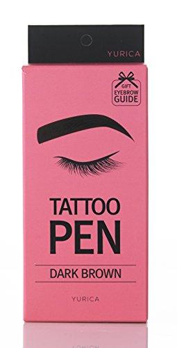 YURICA Tattoo Pen 10g, Eyebrow Semi Permanent Makeup, Long Lasting & Peel-Off (Dark Brown)