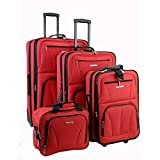 Rockland Luggage Skate Wheels 4 Piece Luggage Set, Red