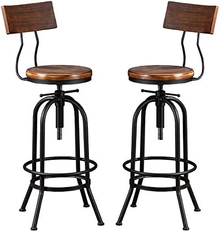 Industrial Bar Stool-Adjustable Swivel Round Wood Metal Kitchen Stool-26-32 Inch-Rustic Farmhouse-Counter Height Extra Tall Bar Height Stool-Arc-Shaped Backrest,Welded,Set of 2