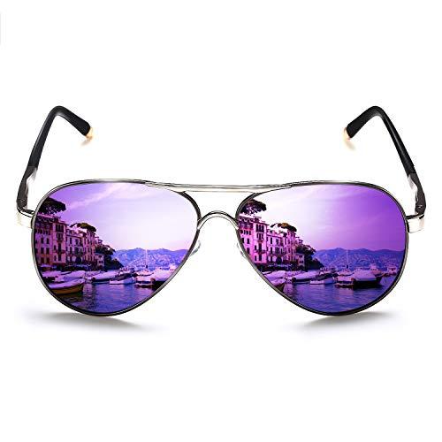 ROCKNIGHT Aviator Sunglasses for Women Polarized UV Protection Ladies Trendy Purple Sunglasses Mirrored Beach Fashion Sunglasses Gifts for ()