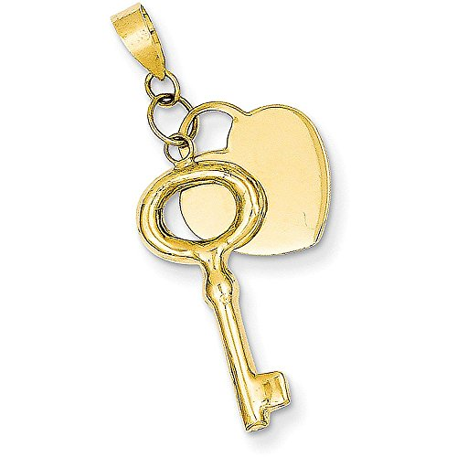 14k Gold Key (14k Gold Heart and Key Charm Pendant - (Yellow Gold, 1.33 Inch Height))