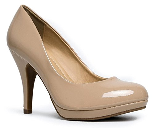 MARCOREPUBLIC Rome Memory Foam Cushion Womens Low Platform Heels Comfort Pumps - (Dark Beige Patent) - 11 by MARCOREPUBLIC (Image #1)