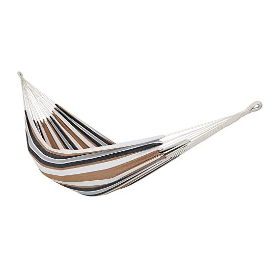 Sunnydaze Brazilian Double Hammock, 2 Person Portable Bed - for Indoor or Outdoor Patio, Yard, and Porch (Calming Desert) - GRAND SIZE: Large hammock is 125 inches long x 60 inches wide. Bed size is 80 inches long x 60 inches wide with a 450 pound capacity, making it a cozy two person hammock. DURABLE AND STURDY: Tied rope loops knotted specifically for durability and strength; U-shaped support for holding hammock in place safely and tightly woven colorfast cotton. COMFORT AND RELIABILITY: Heavy duty hammock features tightly woven colorfast cotton for extra comfort and relaxation. The freestanding hammock is perfect to hang on a tree, between poles, or a Sunnydaze stand (sold separately). - patio-furniture, patio, hammocks - 41KaXq1WmdL. SS570  -