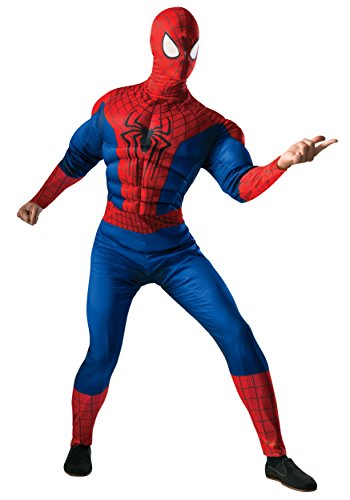 Rubie's Costume Men's Marvel Universe, The Amazing Spider-man 2 Deluxe Muscle-chest Spider-man Costume, Multicolor, One (Amazing Mens Halloween Costumes)