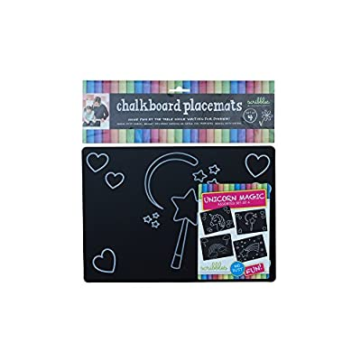 Imagination Starters Reversible Reusable 8.5 x 12 Themed Chalkboard Placemats- Set of 4 (Unicorn Magic): Toys & Games