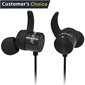 ZEUS Wireless Bluetooth Earbuds for Women Men - NEW 2018 - Premium Magnetic Bluetooth Headphones - Best HD Stereo Sound Sweatproof Earbuds with Mic - Universal Handsfree Bluetooth Earbuds IPx5 Black