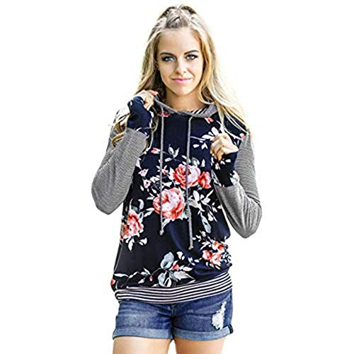 Wobuoke Women Floral Striped Long Sleeve Shirt Loose Blouse Tops Hoodie Sweatshirt Clearance -