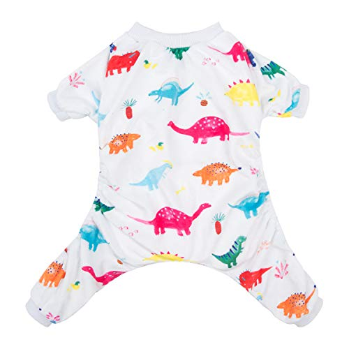CuteBone Dinosaur Dog Pajamas Adorable Pet Clothes Jumpsuit Pjs Apparel Soft Fleece Cat Coat, Small -