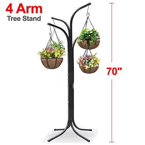 Black, Plant Stand Hanging Holder Basket Patio Outdoor Flower Decor Garden Planter Gift by Plant Stands