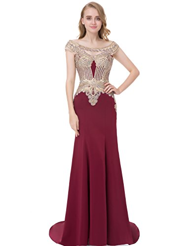 Sarahbridal Womens Formal Evening Ball Gowns Long 2019 Lycra Applique Prom Dress with Sleeves Burgundy US4