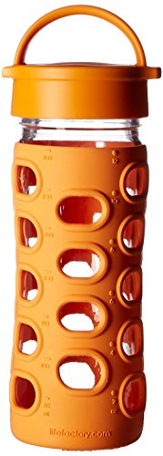 Lifefactory 22-Ounce BPA-Free Glass Water Bottle with Leakproof Cap & Silicone Sleeve, Orange