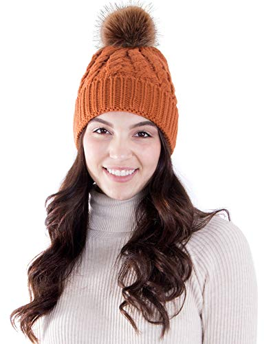 AbbyLexi Womens Pom Pom Beanie Winter Hat Stretch Soft Knit Skull Ski Cap,Orange -