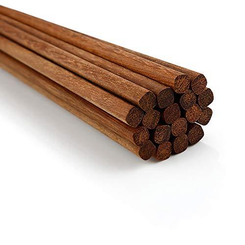 Healthy Wooden Chopsticks, Naturally Unpainted, Reusable, 10 Pairs, Suitable for Children, Adults, Hot Pots, Cooking, Noodles. (Hardwood)