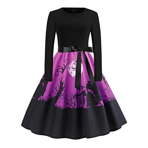 Halloween Stores Naples Fl (WOCACHI Halloween Womens Dresses Long Sleeve Pumpkin A-line Vintage Swing Pleated Dress Masquerade Party Prom Night Club Gown Ankle Length Costumes Skirt 2019 Under 10 Dollars Fashion Fall)