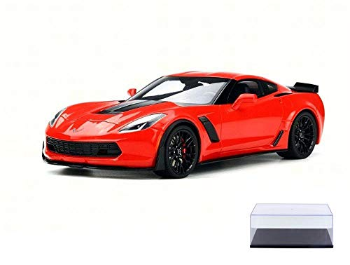 GT Spirit Diecast Car & Display Case Package - 2017 Chevy Corvette Z06, Torch Red US005 - 1/18 Scale Collectible Resin Model Car w/Display Case ()