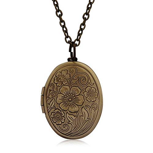 (HUNO Vintage Engraved Flower Photo Locket Picture Pendant Necklace Antique Carved Pattern Memorial Jewelry for Women)