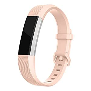 Fitbit Alta Band, UMTELE Soft Replacement Wristband with Metal Buckle Clasp for Fitbit Alta Smart Fitness Tracker, Apricot