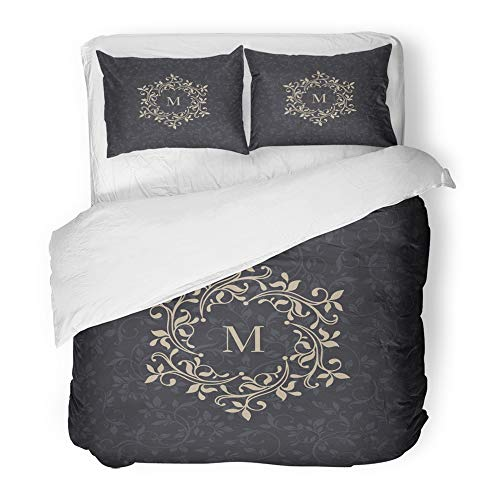 Monogram Duvet - Emvency Bedding Duvet Cover Set Queen (1 Duvet Cover + 2 Pillowcase) Wedding Floral Monogram Classic Design for Premium Victorian Boutique Traditional Hotel Quality Wrinkle and Stain Resistant