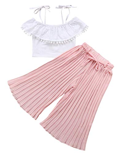 Infant Girl 2PCS Clothing Set Spaghetti Straps Off Shoulder Tassels White Tops+Belt Pleated Wide Leg Pink Pants (Pink, 3-4 Years)