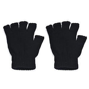 Gloves Men Fingerless Winter, Lowprofile Men Black Knitted Stretch Gloves Warm Half Finger Gloves