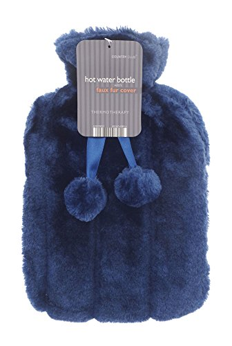 Luxury Hot Water Bottle with Best Plush Faux Fur Cover (Dark Blue)