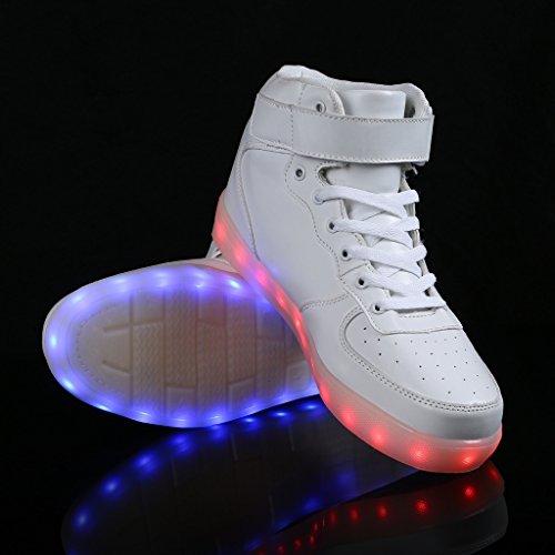 SAGUARO (TM) 8 Farben LED Light-Up Paar Damen Herren Sportschuhe Turnschuhe USB Lade für Valentinstag Weihnachten Halloween 3-weißes High Top