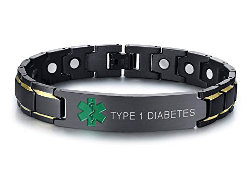 - Type 1 Diabetes Black Ion Plated Stainless Steel Magnetic Therapy Health Emergancy Medical Alert ID Bracelets for Men Dad,8.6