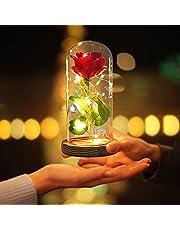 JOBOSI Red Rose Wood Base Rose Night Light,Room Decor,Best Gift for Mom,Gift for Girlfriend,Crystal Rose with Light,Girlfriend,Wife,Fade Rose for Mother's Day,Anniversary,Birthday,Valentine's Day