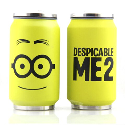 Anime Despicable Me Minions Mug Stainless Steel Pop Can Vacuum Cup Water Bottle with Folding Straw 280ML