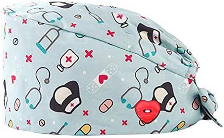 GEMVIE Gorros Enfermera con Botones Pelo Largo Robin Hat para Hombres y Mujers,Dibujos Animados, Flor,Peces, Corbata Ajustable,Algodón Gorro de Trabajo
