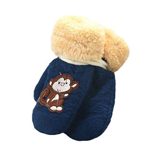 Gotd Kids Girl Boy Monkey Thick Warm Winter Gloves 1-8Years (Navy)