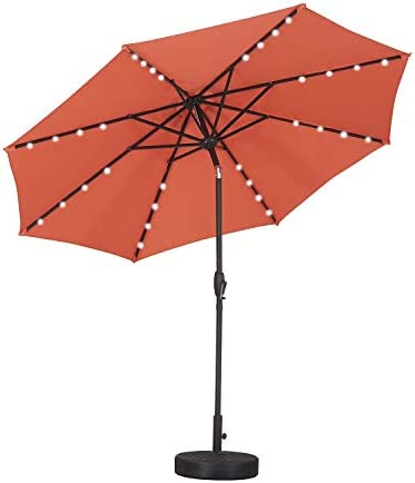 Klismos 9 FT Patio Umbrella with Base 32 Lights Outdoor Table Market Umbrella with Tilt Crank,8 Sturdy Ribs Orange