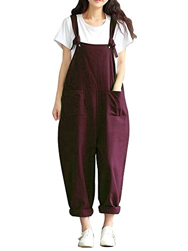 Sobrisah Women's Large Size Baggy Casual Wide Leg Sleeveless Cotton Rompers Jumpsuit with Pockets Wine Red Tag 5XL