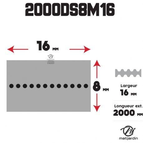 Pi/èce neuve Courroie tondeuse Double Denture 2000DS8M16-16 mm x 2000 mm