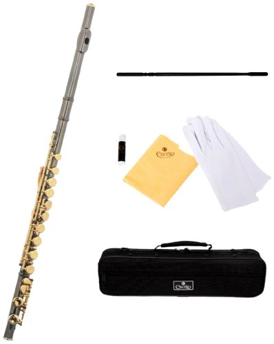 Cecilio FE-280BNG Black Nickel Plated Body and Gold Plated Keys C Flute with Case and Accessories