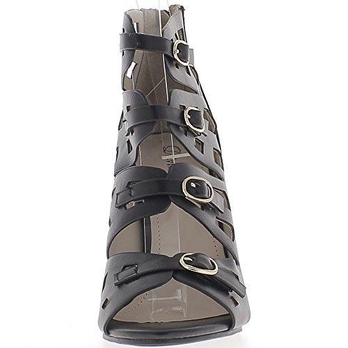 Escarpins ouverts noirs à talons de 10 cm brides avec boucles métal