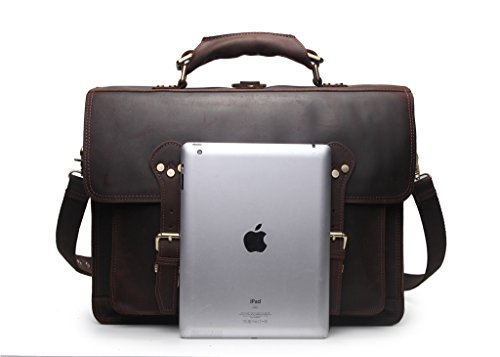 Wellingsale® Full Grain Natural Cowhide Distressed Mocha Brown Leather Executive Briefcase Bag and Backpack
