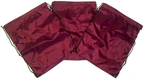3 Pack Nylon MAROON Drawstring Backpacks Sackpack Tote Cinch Gym Bag - Variety of Colors! (X-Large, Maroon) ()