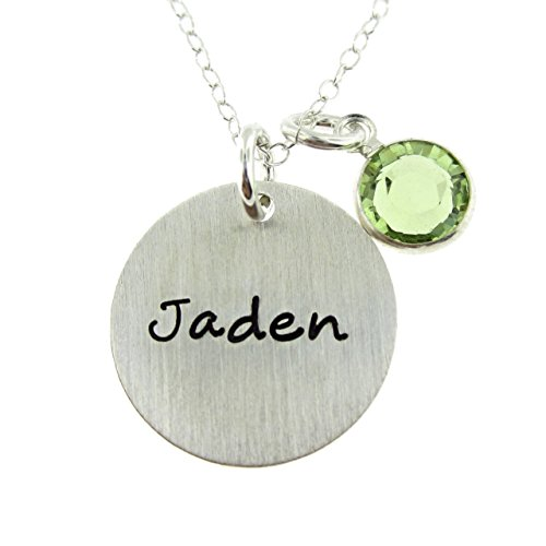 (Solo Personalized Sterling Silver Round Charm Necklace. Customize with your Favorite Name. Choice of Swarovski Birthstone or Pearl. Includes Sterling Silver Chain. Gifts for Her, Wife, Grandmother)
