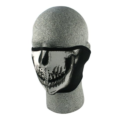 NEOPRENE 1/2 FACE MASK, SKULL FACE, Manufacturer: Zan Headgear, Manufacturer Part Number: WNFM002H-AD, Stock Photo - Actual parts may ()