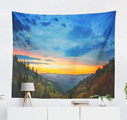 Lshtar Great Mountains Tapestry Decorative Tapestry Great Mountains National Park Sunrise Scene Valley Mountain Tennessee Nature Wall Hanging Tapestry 60 W x 50 L,for Room Great Mountains