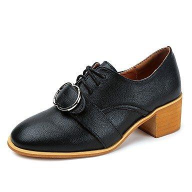 Caída Pu Tacones Formales Zapatos Almendro US7 1A Lace RTRY Negro Informal Up 5 1 CN38 Amarillo 3 Mujer Talón Chunky EU38 5 Pulg 4 La UK5 Vestimenta EqXInwY