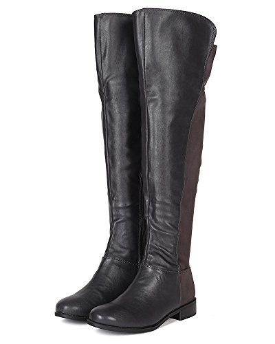 Riding BH09 Mix Heel Knee Boot Stack Women High Grey Media Breckelles x6qwnd8Xfw