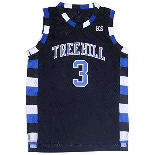 2e171d22f Mens Lucas Scott 3 Ravens Basketball Jersey Stitched Sports Movie Jersey  Black (M)