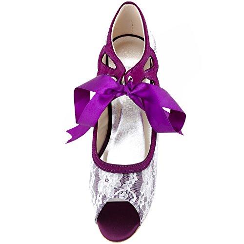 Elegantpark Mujeres Mary Jane Bombas Mid Heel Peep Toe Lazo De La Cinta De Noche De Encaje Prom Zapatos De Novia De La Boda Púrpura