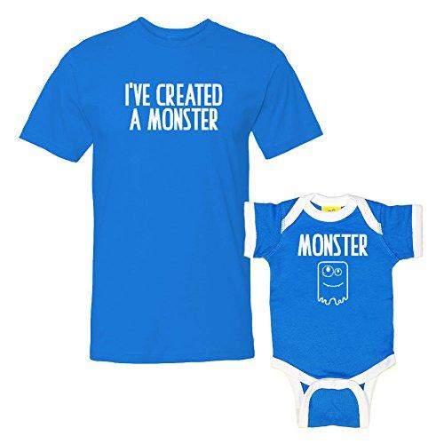 - We Match!! - I've Created A Monster & Monster - Matching T-Shirt & Ringer Baby Bodysuit Set (12M Bodysuit, T-Shirt Medium, Cobalt T-Shirt, Cobalt/White Ringer, White Print)